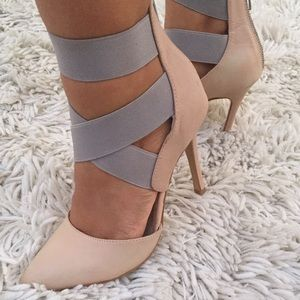 Nude and Gray Heels