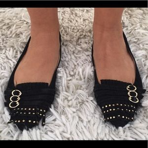 Black leather ballerina flats