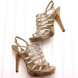 Adrianna Papell gold and crystal caged heels