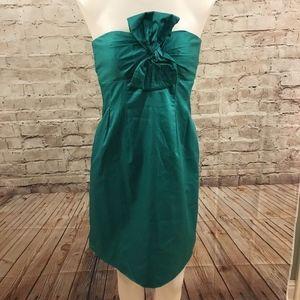 100% Silk J. Crew Kelly Green Strapless Bow Dress