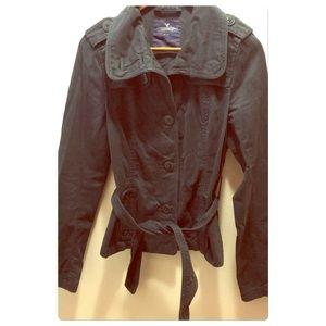 American eagle navy blue jacket with belt