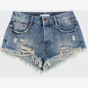 Zara studded denim shorts