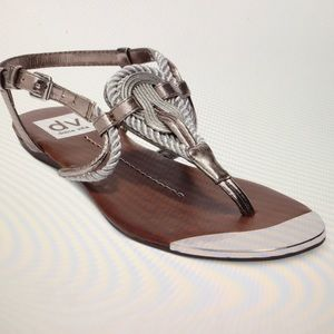 Dolce Vita by Anica metallic silver rope sandals