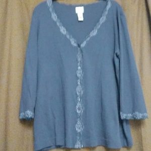 Chicos Purple Lace Trimmed Shirt