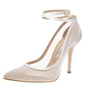 Oscar de la Renta Swiss dot bridal heels sz 41