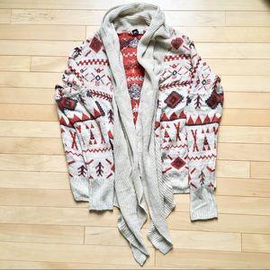 Aztec Print Open Front Sweater