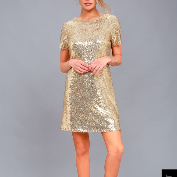 dfc54cabf4b9 PARTY HOUR GOLD SEQUIN SHORT SLEEVE DRESS