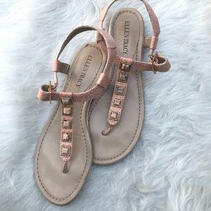 Ellen Tracy pink snakeskin sandals marbled jewels