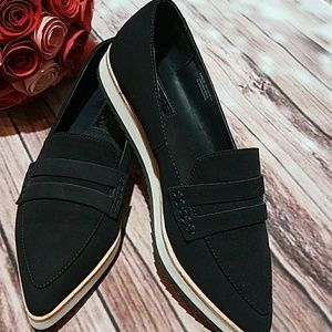 Top Shop black suede pointy flats