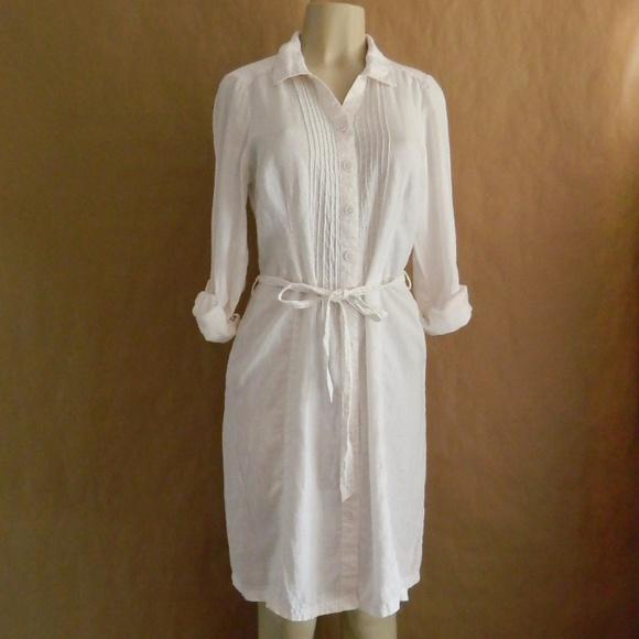 Boden NWOT Regina White Linen Shirt Dress