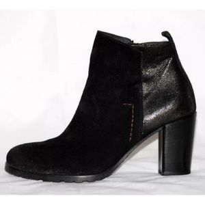 Paul Green Black Suede Ankle Boots Booties Size 6M