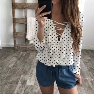 Tops - White and black polka dot blouse