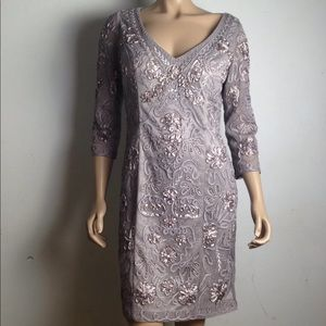 SueWong Size 12 Platinum Holiday Cocktail Dress
