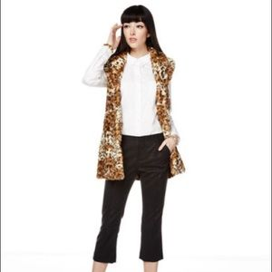 Alice + Olivia Faux Fur Leopard Long Vest XS
