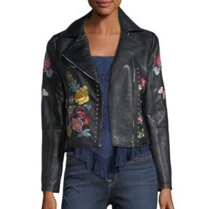 Romeo & Juliet Couture Embroidered Moto Jacket