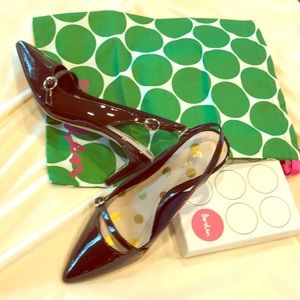 Boden 'Lois' slingback in brown patent. NEW