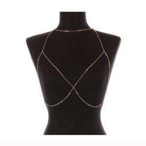Choker Bralette in Gold Body Chain Bodychain Bra