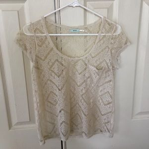 Tops - Urban Outfitters Cream Lace Top