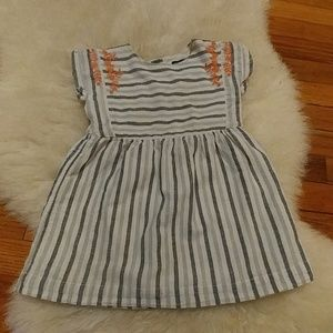 🌌Baby Gap cotton striped and embroidered dress