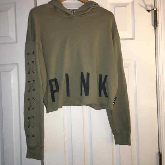 cb85031e07a PINK Victoria's Secret Tops | Pink Cropped Lace Up Sleeve Hoodie ...