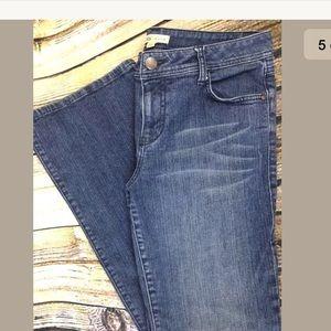 CAbi #511R Jeans Dark Boot Cut Size 10 Distressed