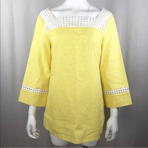 Lilly Pulitzer Bees Knees Tunic Sz 8 Yellow White