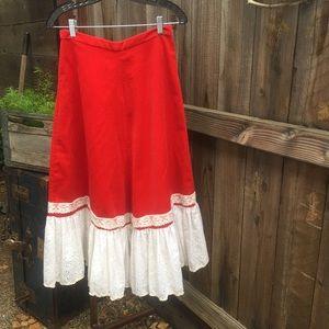 Vintage red velvet maxi skirt w/ ivory lace trim