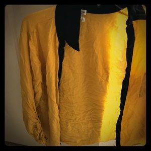 Rayon yellow with blocked black button down shirt