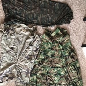 2 camouflage maxi dresses and 1 camouflage shorts