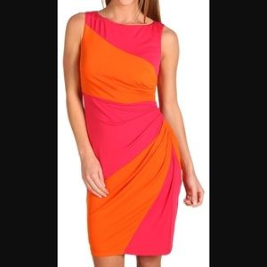 Muse Pink and Orange Color Block side ruched dress