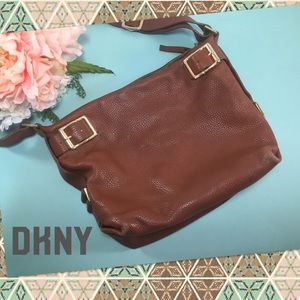 DKNY Brown Pebbled Leather Bucket Bag