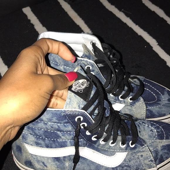 Jean material high top vans sneakers