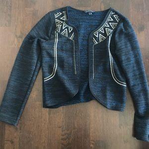 Black/blue blazer with silver/gold embellishments