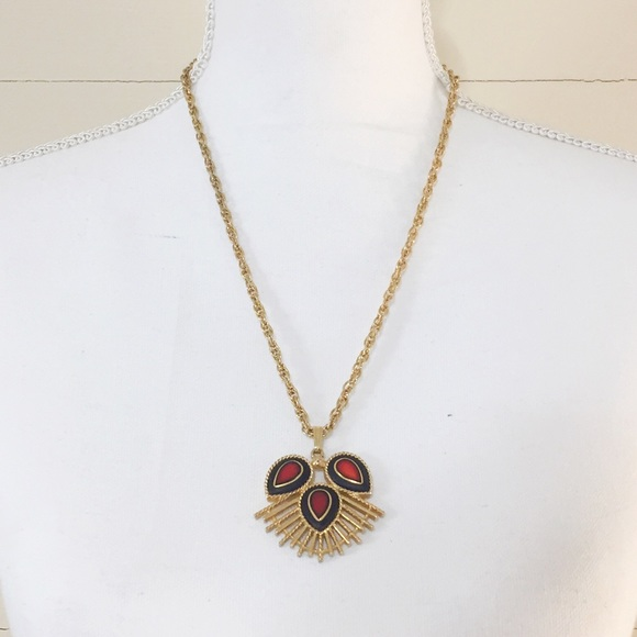 Vintage Sarah Coventry Gold-Toned /& Gemstone Pendant Necklace