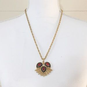 Vintage Sarah Cov Gold & Red Stone Necklace