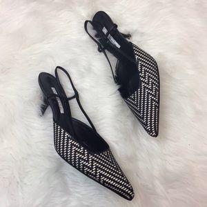 🎁Oscar de la Renta Vintage Weave Chevron Heels