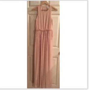 H&M full length chiffon blush/nude dress size 8