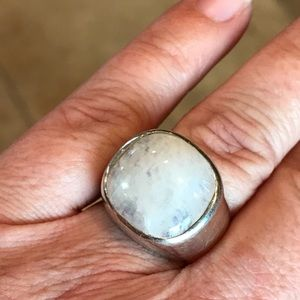 Large sterling silver and moonstone ring unisex