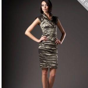 Nicole Miller Bronze/Gold Cocktail Dress