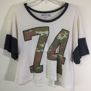NWT WILDFOX Loose T Shirt 74 Camo Flowy Cropped S