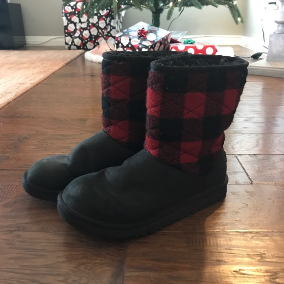 Ugg Black And Red Plaid Boots Booties