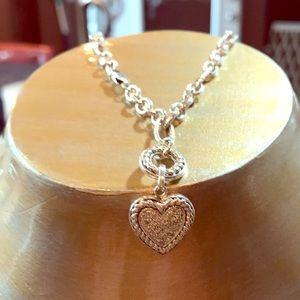 Jewelry - Sterling silver heart charm bracelet. Stamped