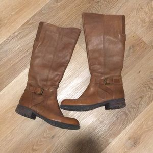 Franco Sarto Brown Leather Riding Boots, Size 7