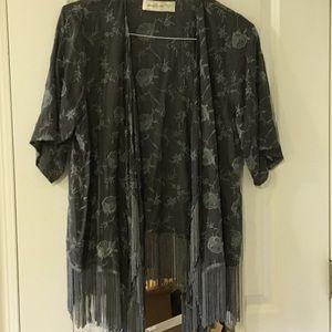 Abercrombie & Fitch Kimono Style Fringed Blazer