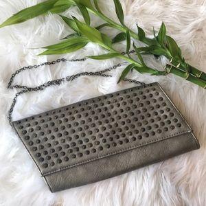 Handbags - Cross body/shoulder studded gray bag or clutch