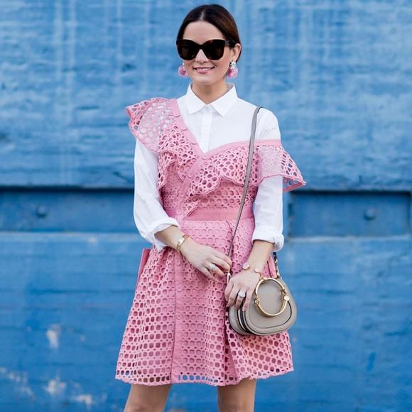 944961894bba Self-Portrait Dresses | Self Portrait Pink Lace Frill Mini Dress ...