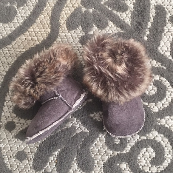 H M Baby Girl Boy Boots With Faux Fur Size 1 2