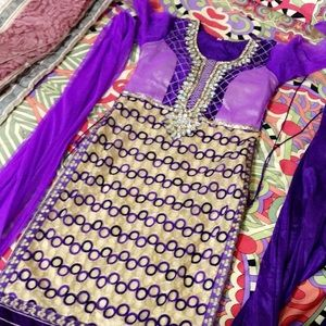 Dresses & Skirts - Sparkly purple Salwar Kameez FREE BANGLES