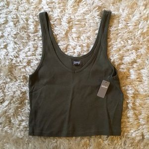 Army Green AERIE Crop Tank