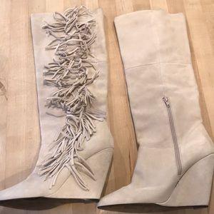Betsy Johnson Suede Fringe Boots